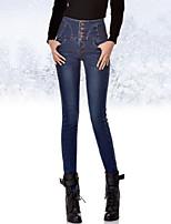AIMENGYA®Women's Sexy/Casual/Bodycon Thick Slim Thin Fleece Lining Long Jeans (Cotton/Denim/Elastic)