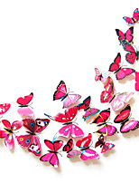 3D Wall Stickers Wall Decals Style Butterfly Color Rose Red PVC Wall Stickers