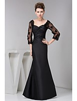 Mother of the Bride Dress Floor-length 3/4 Length Sleeve Lace and Satin Trumpet/Mermaid Dress