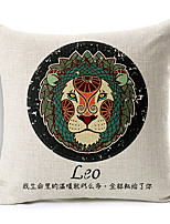 Modern Style Constellation Leo Patterned Cotton/Linen Decorative Pillow Cover