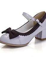Women's Shoes Faux Chunky Heel Heels/Closed Toe Pumps/Heels Office & Career/Dress/Casual Purple/White/Beige