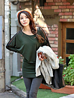 Women's Solid Green T-shirt , Round Neck Long Sleeve