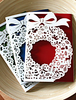 1pcs 3 Colors Laser Cut Big Bell Christmas Greeting Card Party Invitaion Card Christmas Tree Decoration