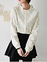 Women's Polka Dot White Shirt , Shirt Collar Long Sleeve