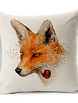 Cartoon Smoking Fox Cotton/Linen Decorative Pillow Cover