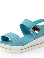 Women's Shoes Leather Low Heel Comfort Sandals Outdoor/Dress/Casual Blue/White