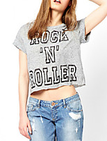 Women's Crew Neck Casual Letter Rock Printed Cotton Loose Gray Short T Shirts