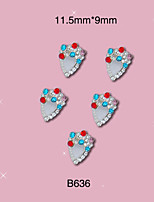 B636 11.5mm*9mm 10pcs/lot Colorful Shinning Rhinestones Alloy Nail Sticker Charms Jewelry for Nail Polish