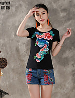Women's Solid White/Black T-shirt , Round Neck Short Sleeve Embroidery