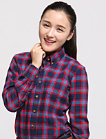 JAMES Fall Women's Slim Long Sleeve Shirt/ Blouse with Black-Blue-White Plaids & Checks Casual
