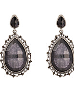 Women's Vintage Exaggerate Black Crystal Gem Stud Earrings HJ0042