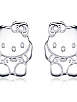 Jazlyn Authentic Platinum Plated 925 Sterling Silver Lovely Hello Kitty Kids Womens Children's Stud Earrings for Gift