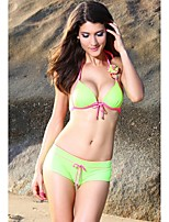 Women's Halter Bikinis , Color Block Push-up Polyester/Spandex Green