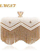 L.WEST® Women's High-end Pearl Inlaid Diamonds Tassel Party/Evening Bags