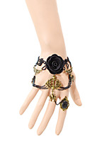 Vintage Black Rose  Spider Bracelet With Ring