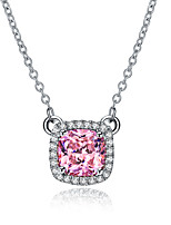 Sterling Silver 2CT 7*7mm SONA Simulate Diamond Cushion Pendant for Women Free 18inches Necklace Pink Pendant Jewelry