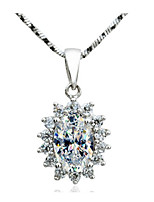 1CT Oval Slide Pendant SONA Simulate Diamond Solid Silver Necklace Engagement Female Pendant 18K White Gold Plated