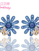 Women's Birthday Gift Fashion Handmade Bohemian Crystal Flowers Earrings Jewelry Exaggerated