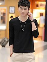 Han&Chloe®Men's Long Sleeve Solid Color Cotton T-Shirt