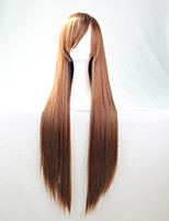 Cos Anime Bright Colored Wigs Brown Long  Straight  Hair Wig 80 cm