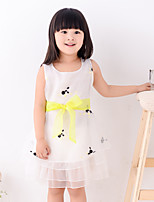 Girl's Summer Round Collar Print Ruffle Sleeveless Dresses (Chiffon)