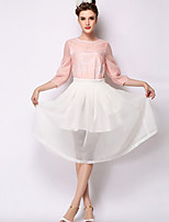 Women's Solid White Skirts , Casual Midi Mesh