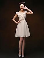 Knee-length Chiffon Bridesmaid Dress - Blushing Pink/Champagne Sheath/Column V-neck