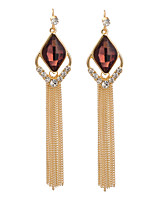 Women's Fashion Elegant Inlay Zircon Tassel Long Stud Earrings HJ0081