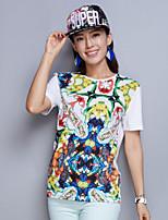 Women's Print White/Black T-shirt , Round Neck Short Sleeve