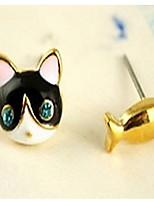 Lovely Cat Fish Blue Diamond Stud Earrings