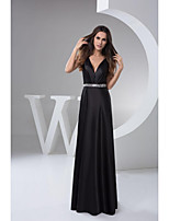 Formal Evening Dress - Black Petite A-line V-neck Floor-length Satin
