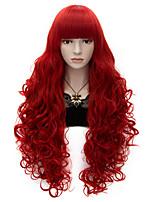 80 centimetri botto lungo piatto pieno di calore ricci rossi resistere cosplay sintetica parrucca del partito dei capelli