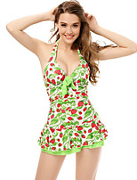 Women's Halter One-pieces , Ruffle/Bandage Wireless Polyester Green