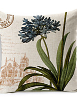 Country Style Beautiful Flowers Patterned Cotton/Linen Decorative Pillow Cover