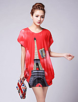 Women's Beach/Casual/Print/Party Stretchy Short Sleeve Long T-shirt (Knitwear/Spandex/Cotton Blends)