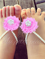 Pearl and Shabby Flowers Baby Girl Barefoot Sandals Newborn Flower First Walkers Shoes Princess Toddler Shoes 3 pair/lot