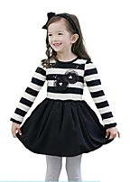 Kids Girls Spring Fall Striped Cotton Flower Princess Party Dress (Cotton Blend)
