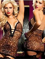 Sexy Lingerie Women Leopard Babydoll Nightwear Erotic Underwear Sleepwear G-string 0310