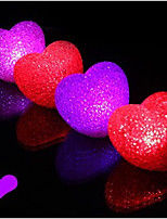 10PCS LED Changing Color Crystal Heart Night Light Party Supplies (Random Color)