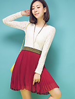 Women's Solid Skirts , Casual/Work Above Knee Pleated