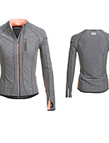 naranja malla de spandex de nylon gris mujeres insertan reflexivo zippe hombro frente del logotipo de punto corriendo chaqueta deportiva
