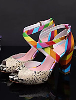 Women's Shoes Leather Chunky Heel Heels Sandals Casual Multi-color