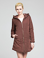 Women's Solid Black/Brown Parka Coat , Casual Long Sleeve