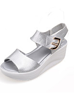 Women's Shoes Wedge Heel Wedges/Peep Toe Sandals Dress/Casual Pink/White/Silver