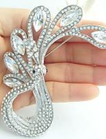 Women Accessories Silver-tone Clear Rhinestone Crystal Peacock Brooch Art Deco Crystal Brooch