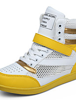 Women's Shoes Leather Wedge Heel Wedges/Comfort/Round Toe Fashion Sneakers Outdoor/Casual Yellow/Red/White