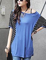 Women's Polka Dot Blue T-shirt , Round Neck ½ Length Sleeve