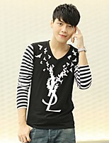 Han&Chloe®Men's V-Neck Long-Sleeved Printed T-Shirt