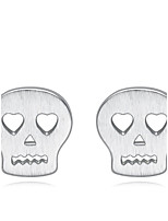 Jazlyn Authentic Platinum Plated 925 Sterling Silver Cartoon Skull Skeleton   Stud Earrings