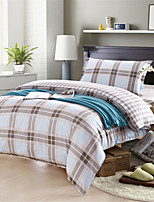 H&C 100% Cotton 600TC Duvet Cover Set  3-Piece  Khaki And White Checker Pattern  XB1-007